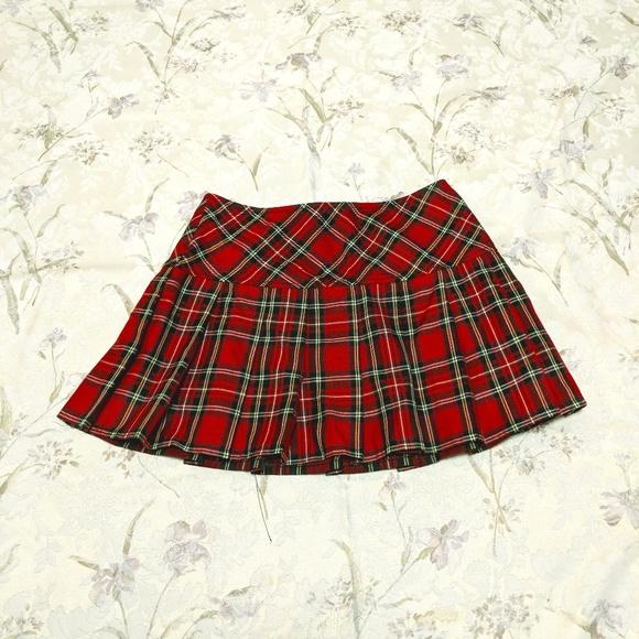 3ff311d99 Royal Bones Skirts   Nwot Red Short Plaid Pleated Skirt   Poshmark